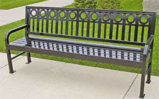 Bench With Back Metal Aspen Series