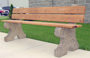 Bench With Back Wood Seat with Concrete Legs UB